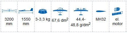 TopModelCZ Fantasy 3.2M High Performance EP Sailplane dimensions and weight