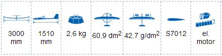 TopModelCZ Thermik Dream 3m Performance EP Sailplane dimensions & weight