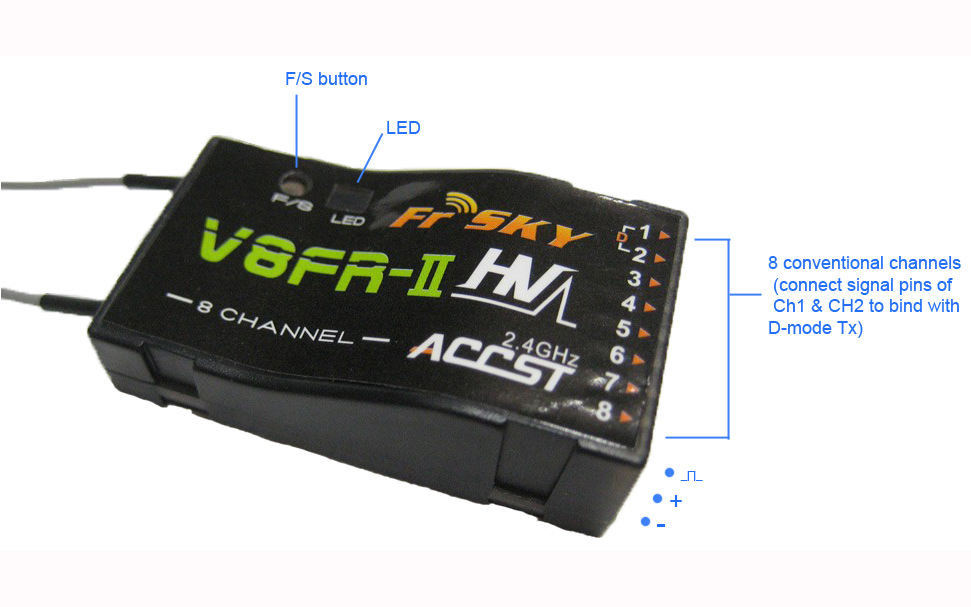 FrSky V8FR II 8 Channel 2.4G Receiver 2 v8fr ii 8 channel 2 4ghz receiver  at gsmx.co